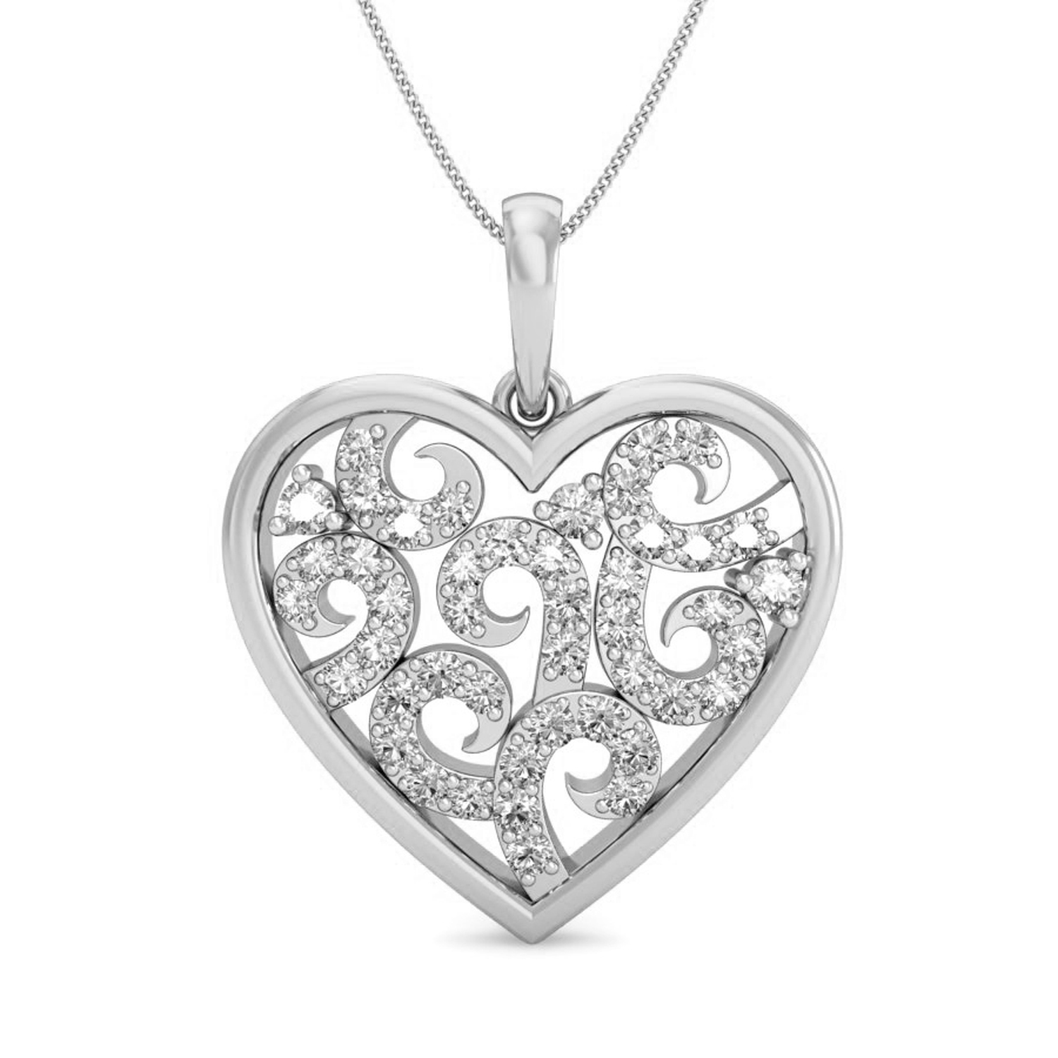 1500x1500 Heart Shaped Diamond Pendant Love 0.32 Ct Certified Gold