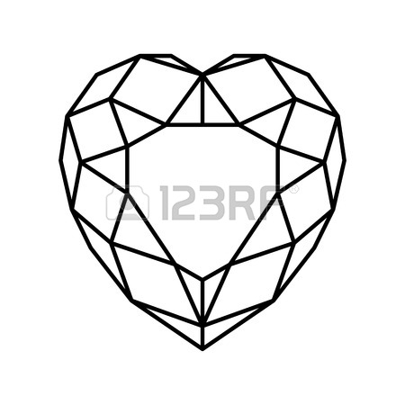 450x450 Shiny Isolated Black Diamond Heart With Ribbon Shape On White