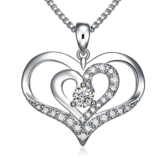 523x523 Liloing Forver Love Heart Pendant Necklace, Double