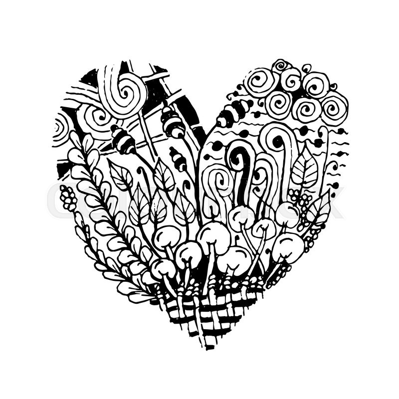 800x800 Zentangle Heart Shape, Sketch For Your Design. Vector Illustration