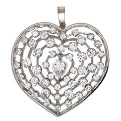 240x240 Antique Heart Shaped Diamond Gold Platinum Pendantrooch For Sale