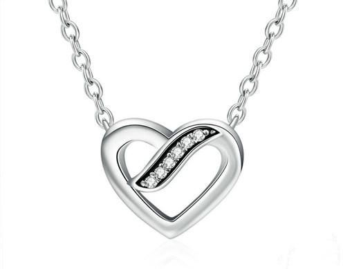 496x389 Buy Charm Perfect Brand Love Ribbon Heart Shaped Diamond S925