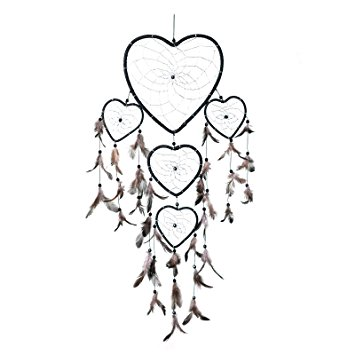 355x355 Dream Catcher ~ Handmade Black Heart Shape With Silver String 22cm