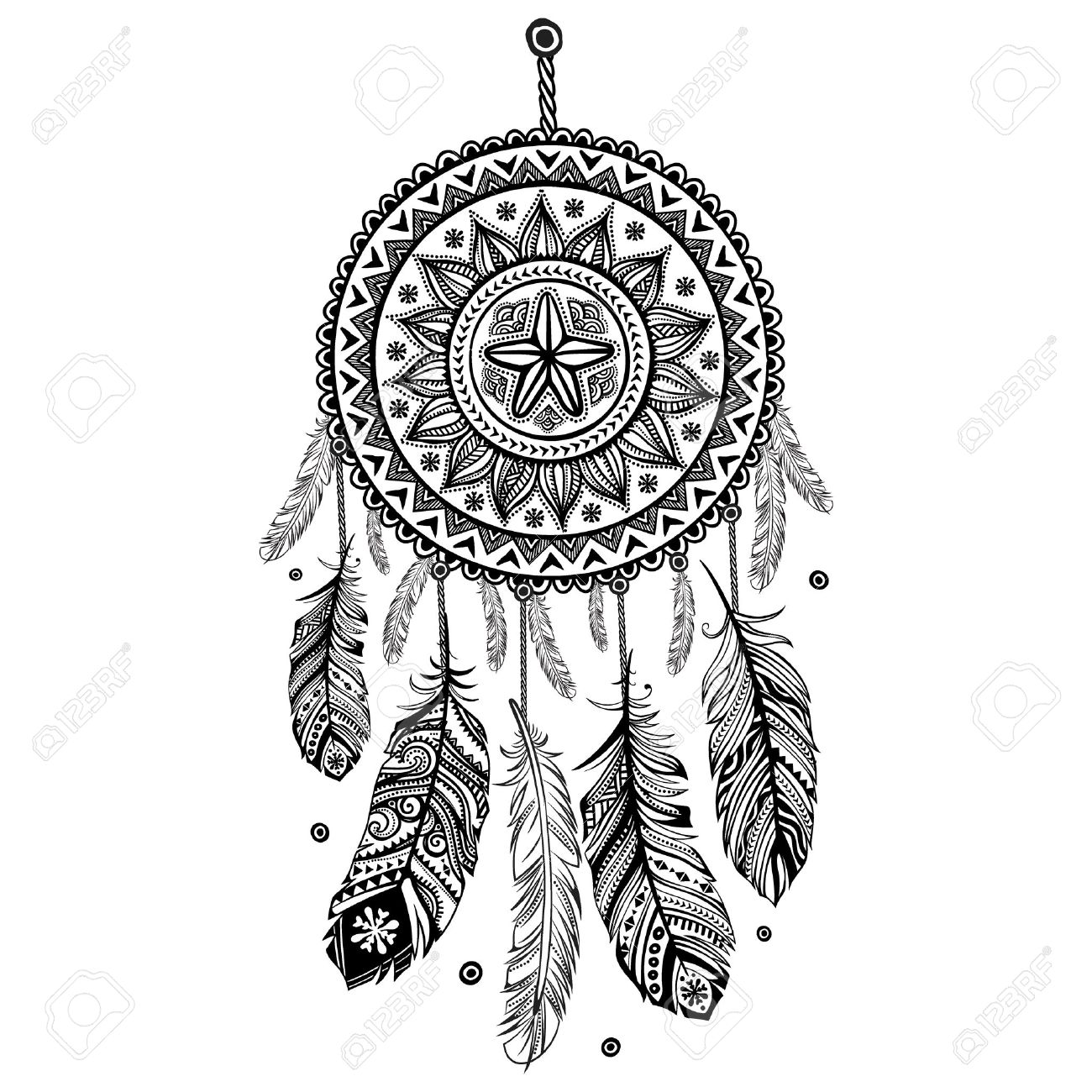 1300x1300 Dreamcatcher Clipart Black And White