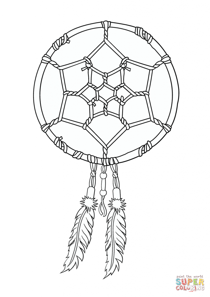 724x1024 Dreamcatcher With Native American Shaped Coloring Pages
