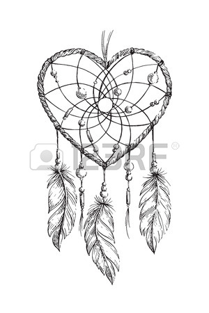 300x450 Hand Drawn Ethnic Dreamcatcher Heart. Coloring Page For Adults