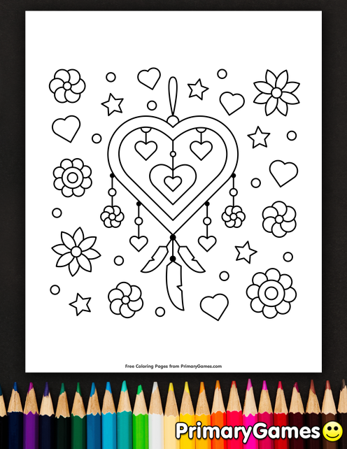 496x642 Heart Shaped Dream Catcher Coloring Page Printable Valentine'S