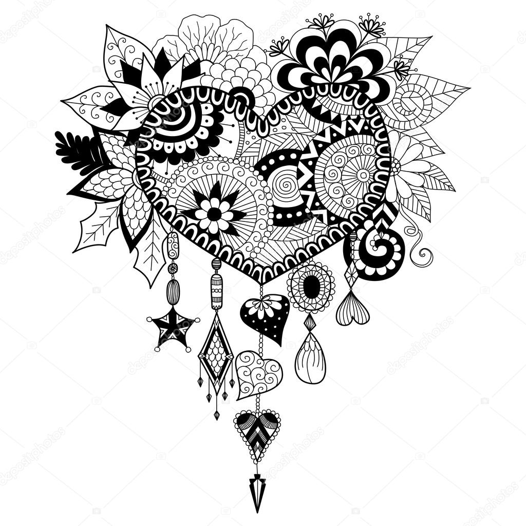 1024x1024 Heart Shape Floral Dream Catcher For Coloring Book For Adult