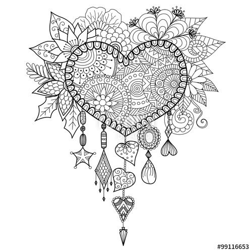 500x500 Vector Hand Drawn Heart Shape Floral Dream Catcher For Coloring