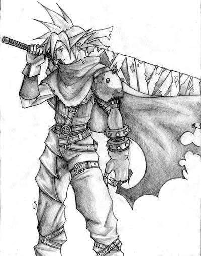400x509 Kingdom Hearts Cloud Sketch By Ex M