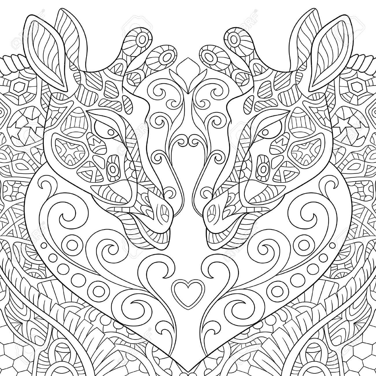 1300x1300 Stylized Two Cartoon Lovely Giraffes With A Heart. Sketch