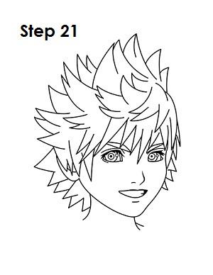300x388 How To Draw Roxas (Kingdom Hearts)