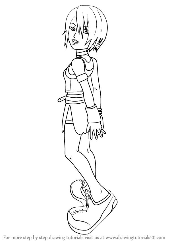 598x844 Learn How To Draw Kairi From Kingdom Hearts (Kingdom Hearts) Step