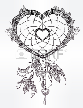 346x450 Hand Drawn Romantic Drawing Of A Heart Shaped Dream Catcher