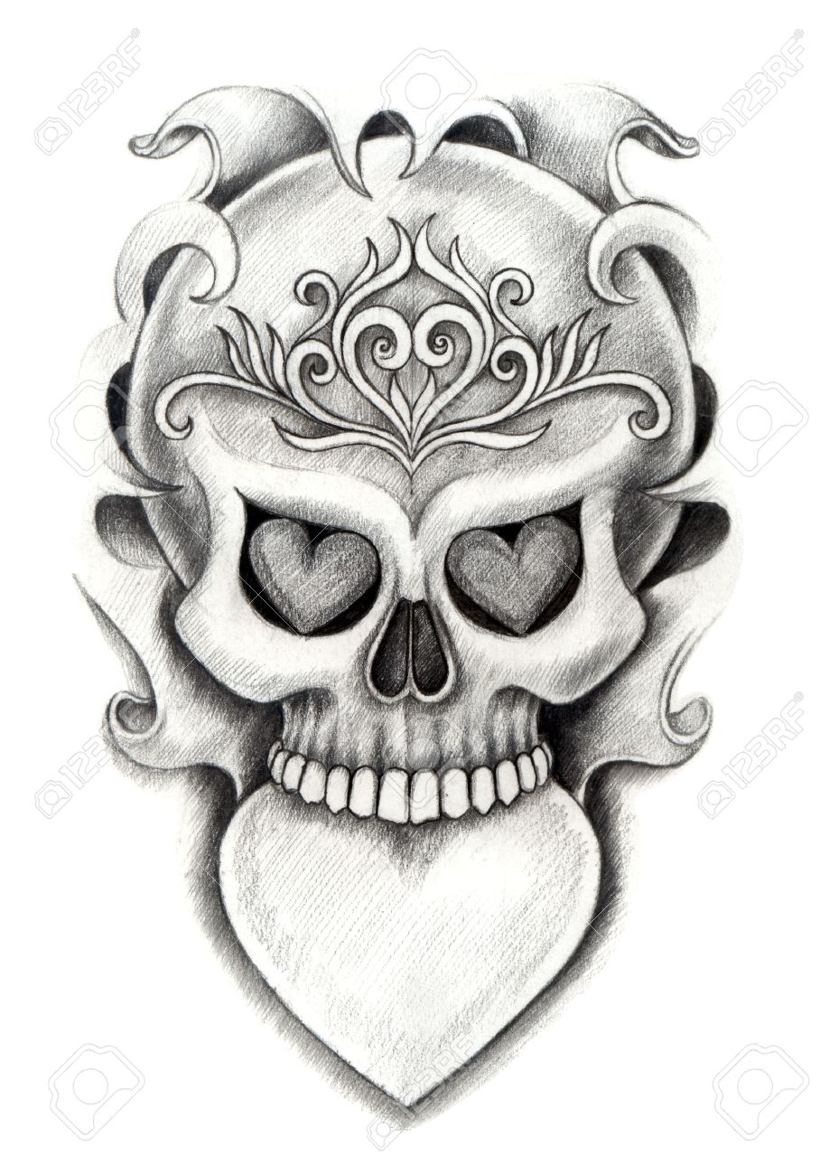 908x1300 Skull Heart Tattoo. Hand Drawing On Paper. Stock Photo, Picture