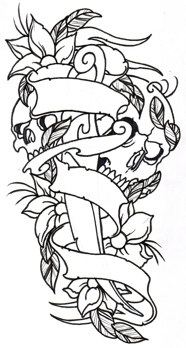 600x1119 Collection Of Dagger Skull Heart Tattoo Designs