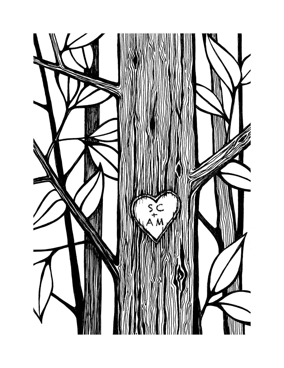 1200x1553 Personalized Heart Tree Print