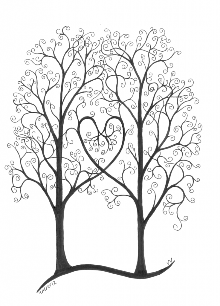 736x1024 Two Trees Next To Each Other, Branches Making A Heart, Swirls