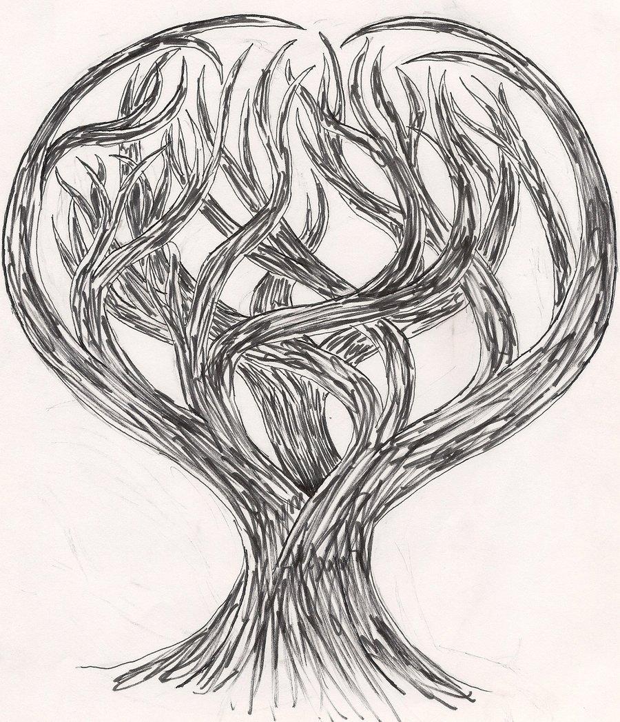 900x1047 Dark Heart Tree By Lil Wolf Girl