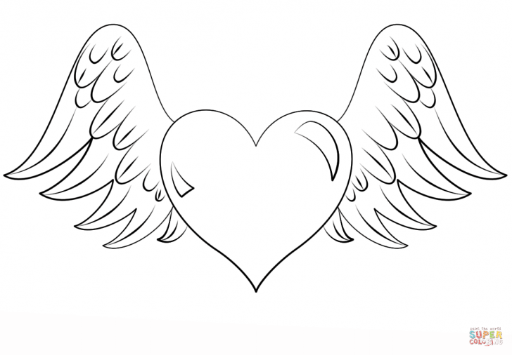 728x506 Coloring Pictures Of Hearts With Wings Coloring Page For Kids