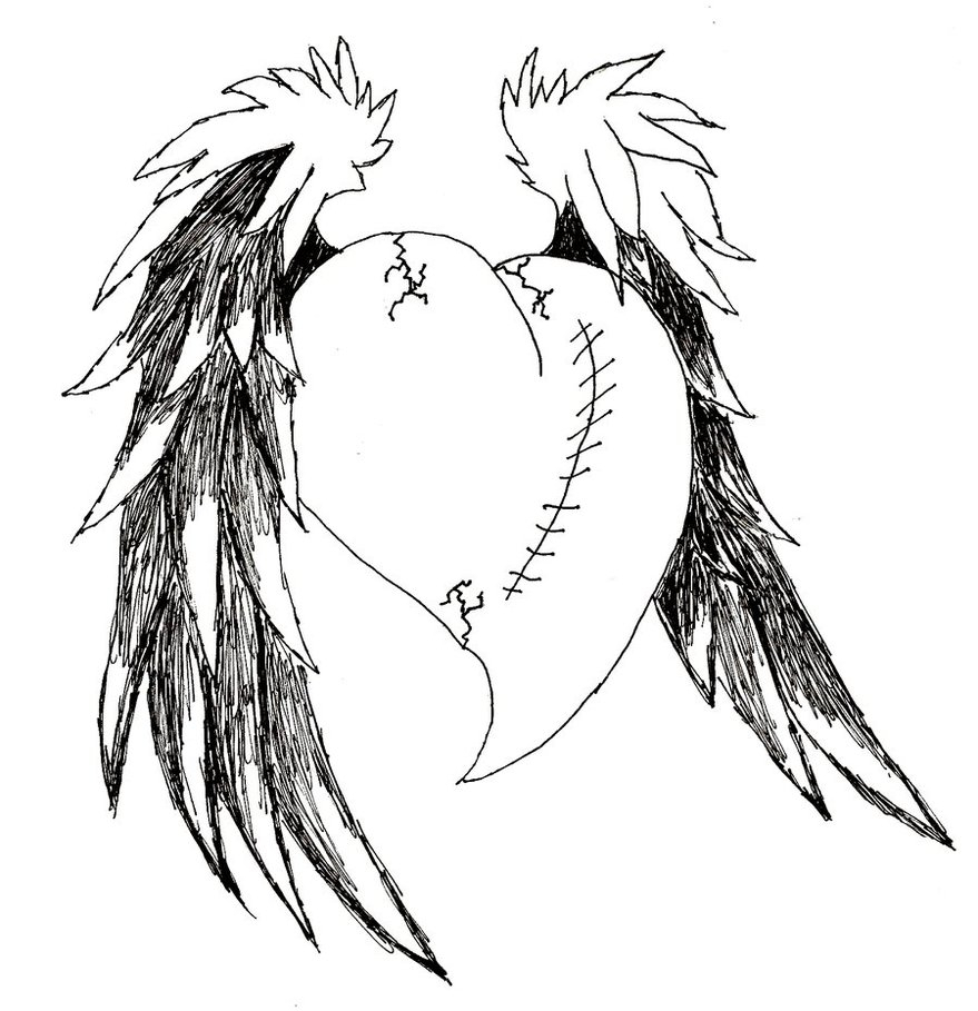 879x909 Drawing Of Hearts With Wings Heart With Wings Drawing
