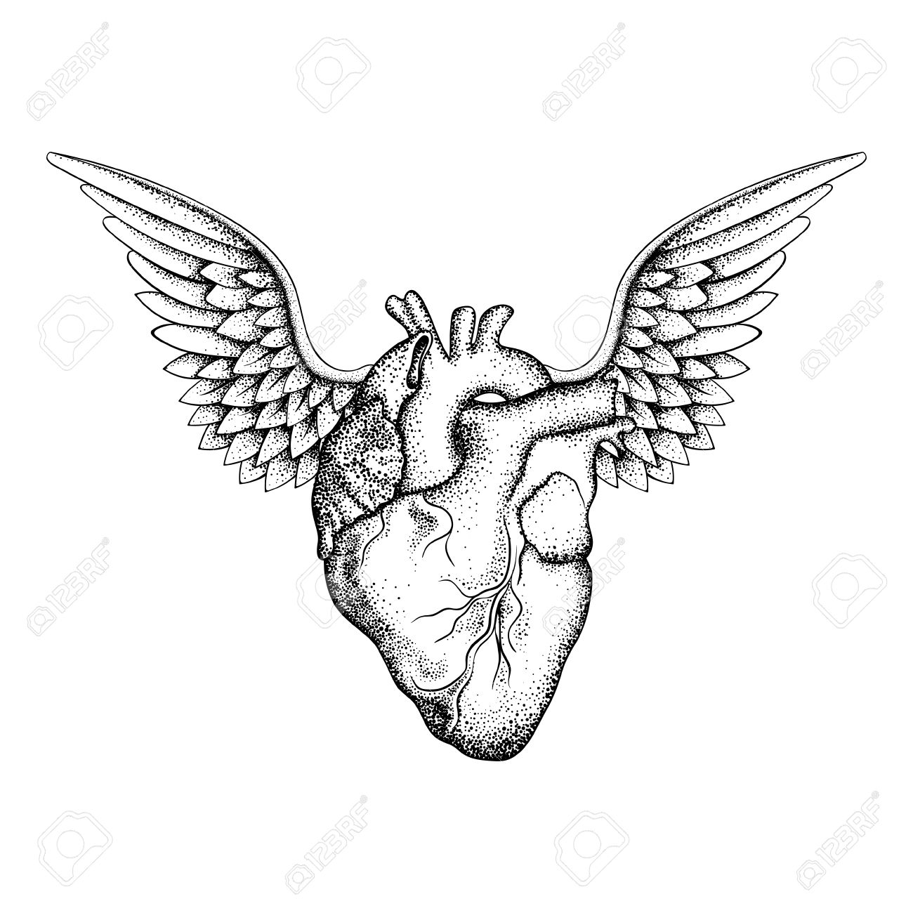 1300x1300 Hand Drawn Elegant Heart With Wings, Black Sketch For T Shirt