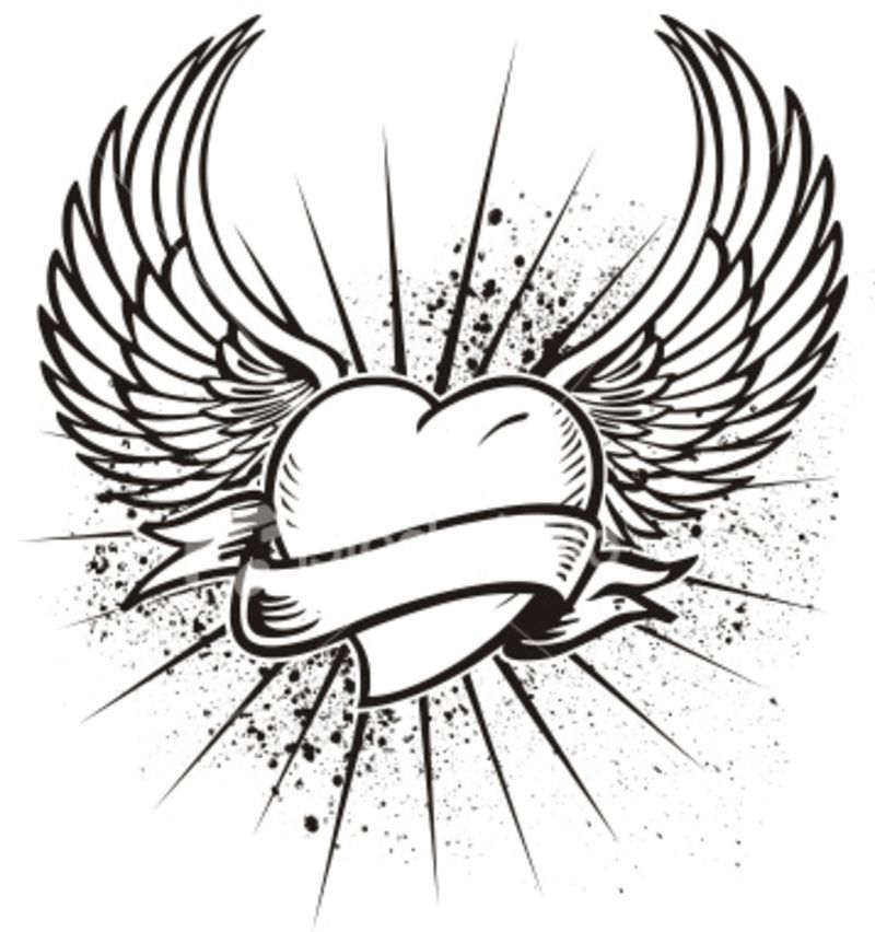 800x852 39 Awesome Drawings Of Hearts With Angel Wings Images Angel'S