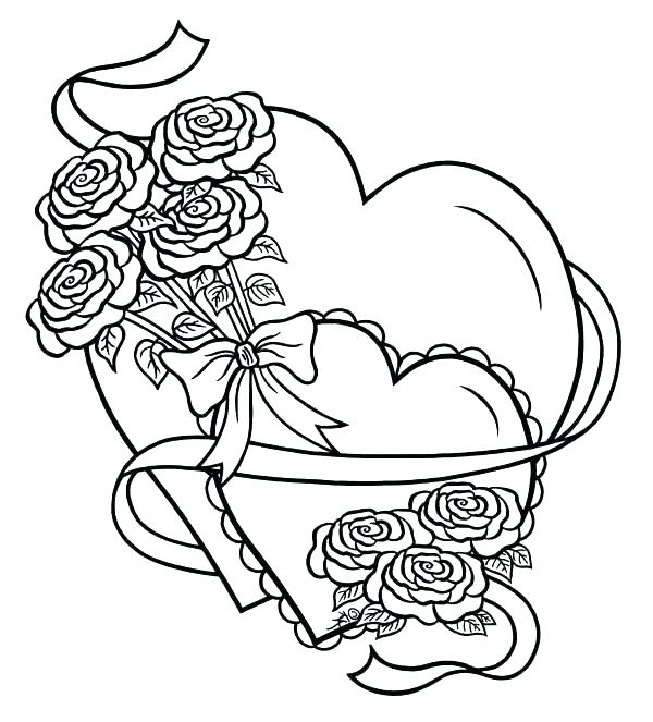 600x663 Epic Heart And Rose Coloring Pages Image Roses Hearts Tied