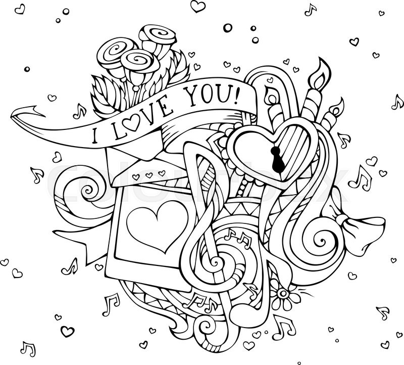 800x722 Outlined Hand Drawn Background. Music Notes, Hearts, Lock, Letter