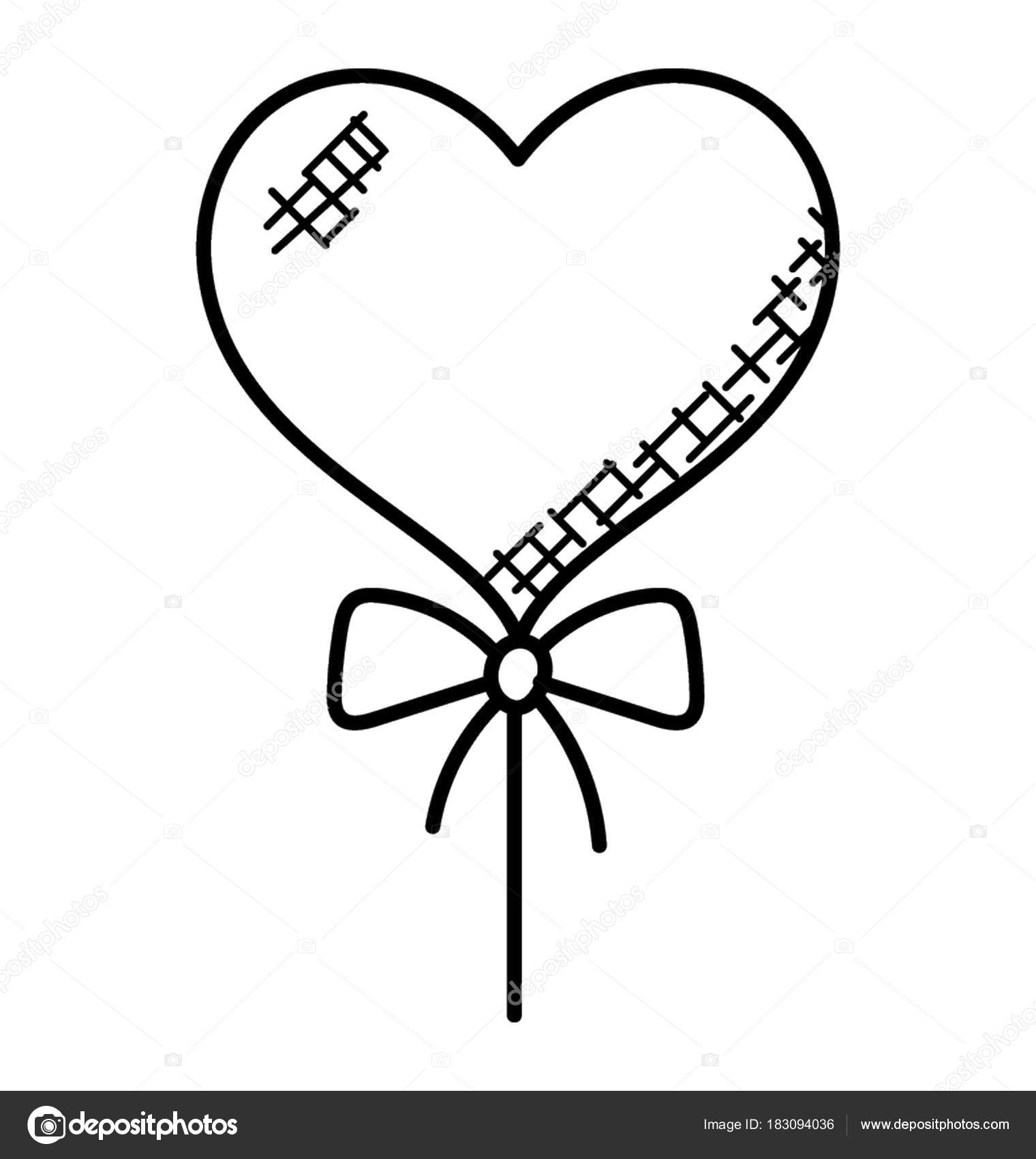 1520x1700 Single Heart Shaped Balloon Attached String Ribbon Doodle Vector