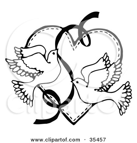 450x470 Clipart Illustration Of Two Flying Doves With Ribbon Over