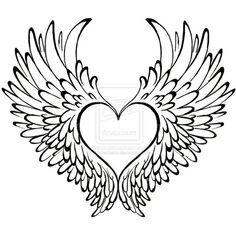 heart with angel wings drawing at getdrawings com free for rh getdrawings com angel wings with heart wall decor angel wings with heart tattoo meaning