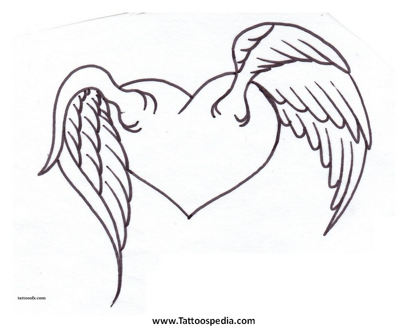 810x650 3d Hd Abstract Picture Heart Angel Wings Tattoo Design Idea
