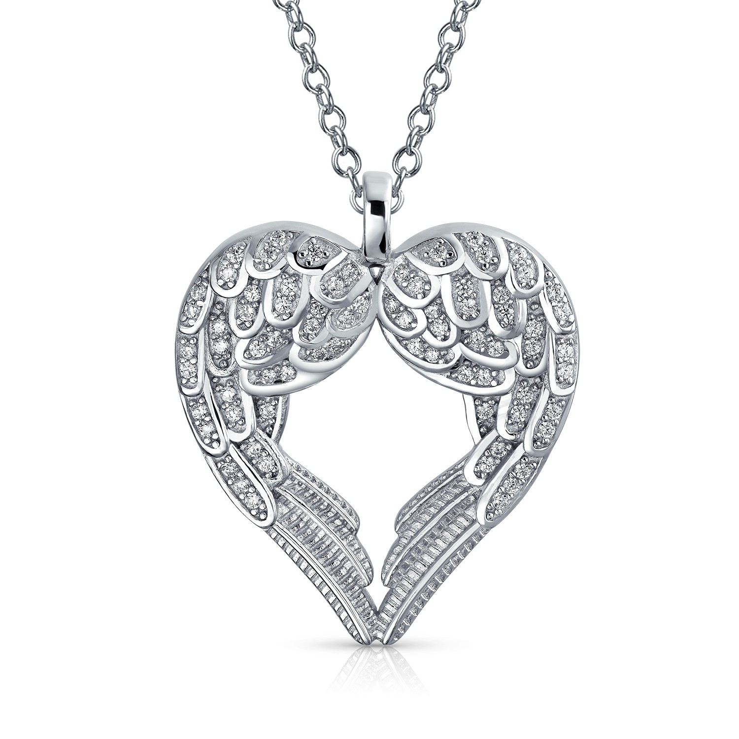 1500x1500 Sterling Silver Pave Cz Heart Guardian Angel Wing Pendant Necklace