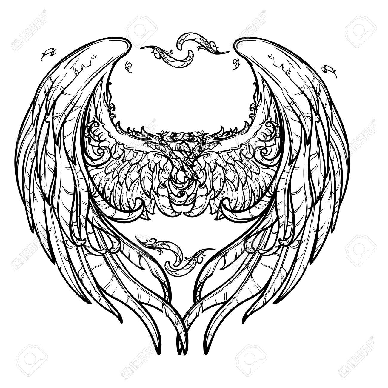 1300x1300 A Pair Of Angel Wings Arranged In A Shape Of A Heart. St