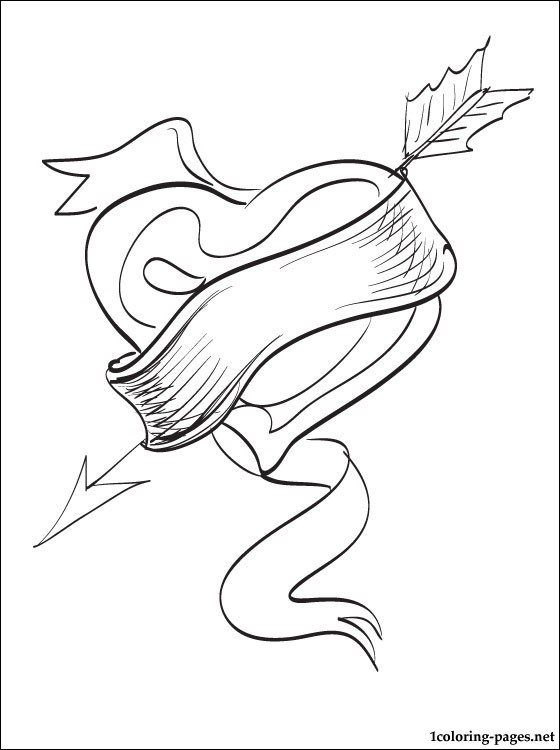 560x750 Coloring Page With A Big Heart With An Arrow Coloring Pages