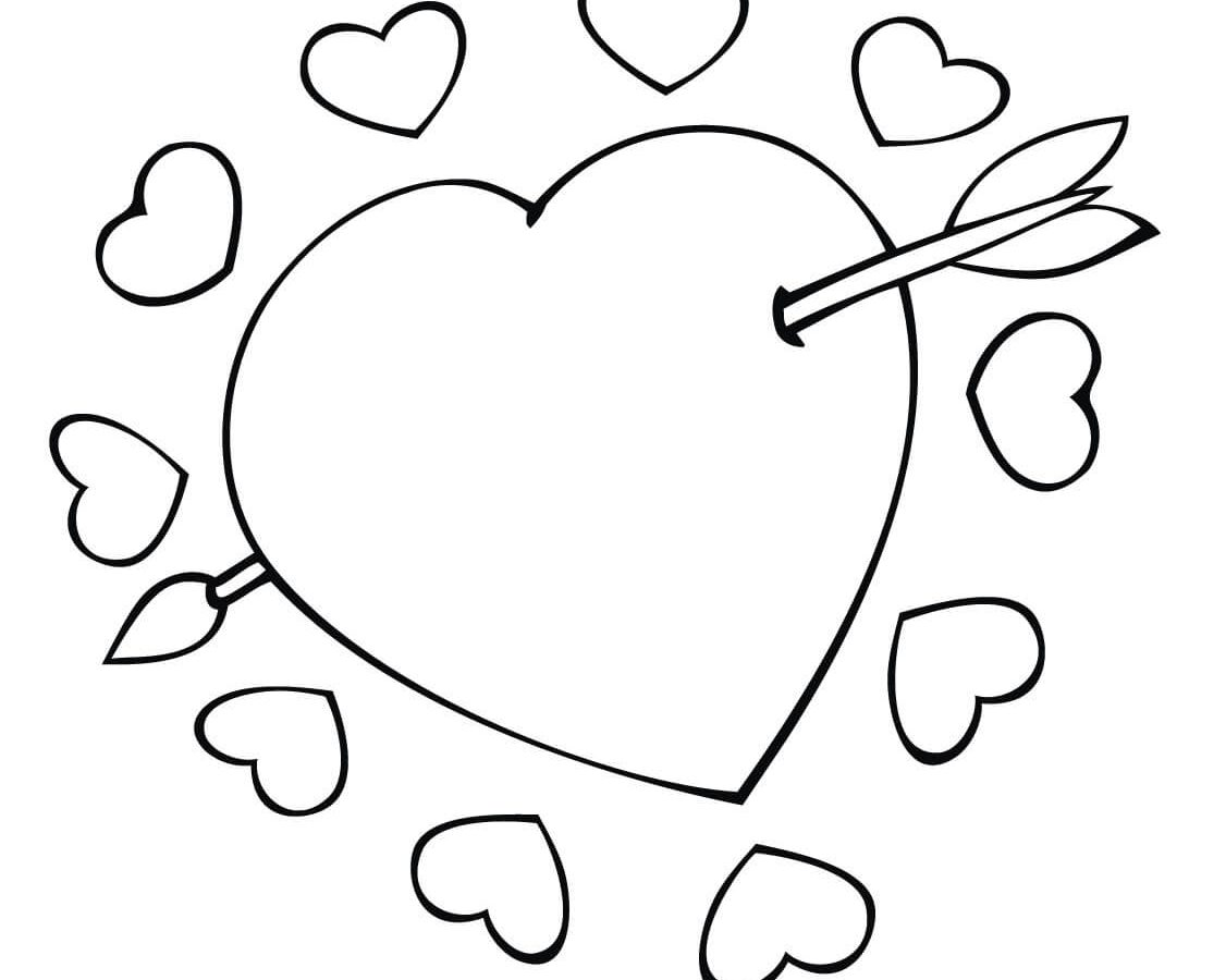 1126x900 Flying Cupid Coloring Pages For Toddler Printable Valentines Kids