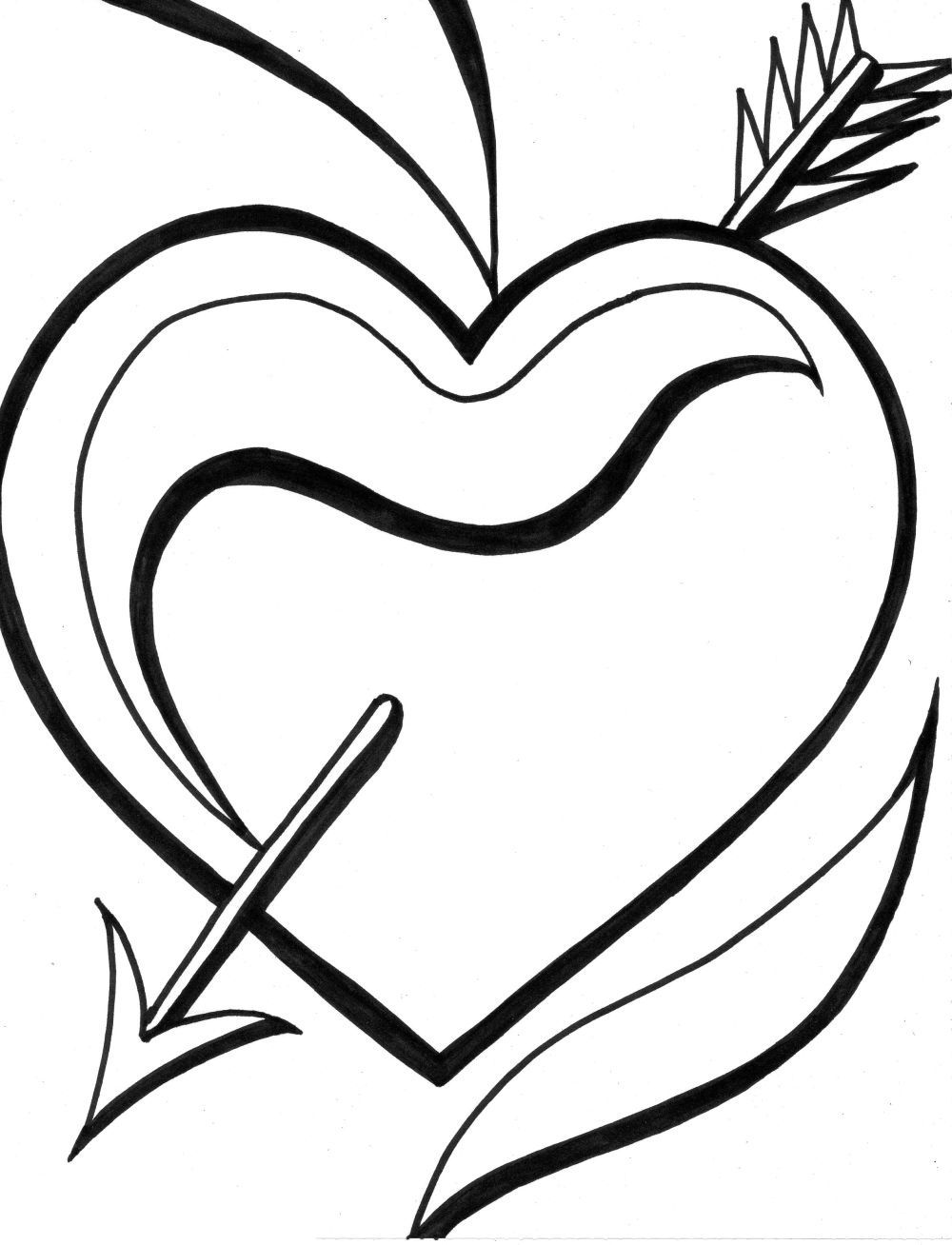 Heart With Arrow Drawing at GetDrawings.com | Free for personal use ...