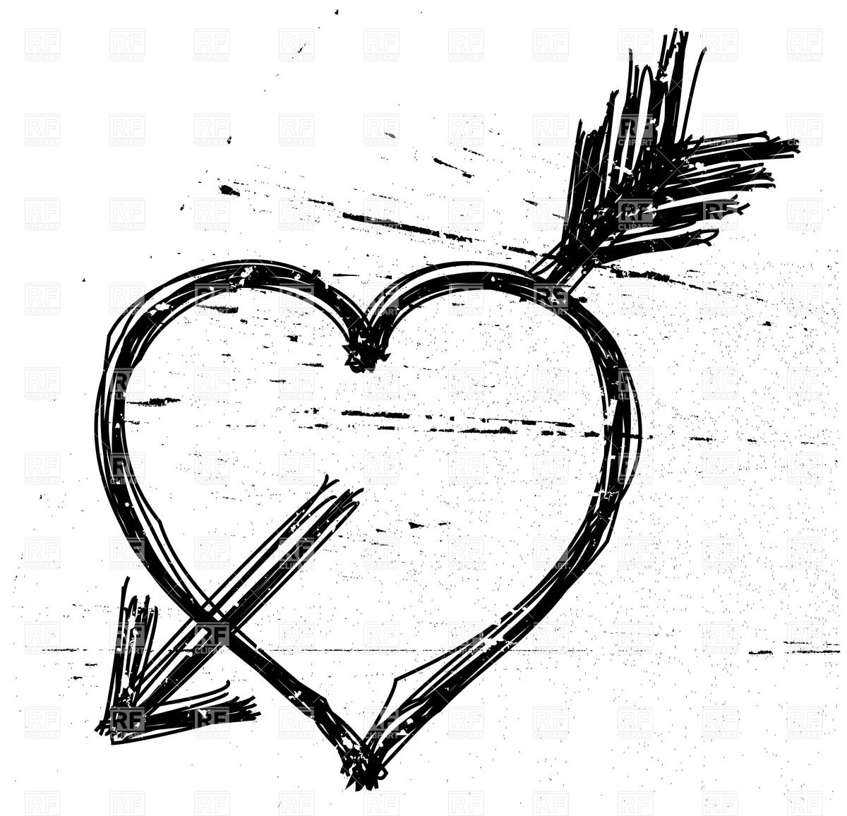 1200x1156 Heart Pierced By Arrow In Grunge Style