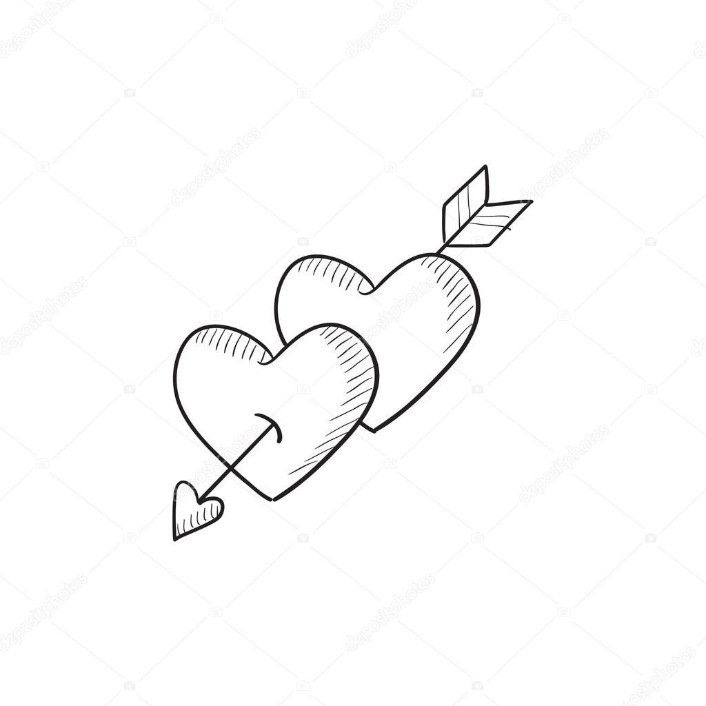 1024x1024 Two Hearts Pierced With Arrow Sketch Icon. Stock Vector