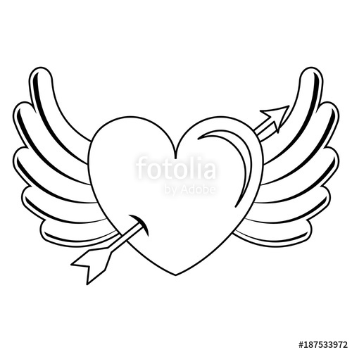 500x500 Heart Love With Arrow And Wings Vector Illustration Design Stock