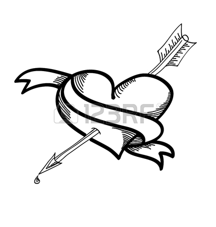 Heart With Arrow Drawing At Getdrawings Free For Personal Use