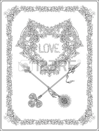341x450 Decorative Stylized Heart In Baroque, Royal Style. Perfect