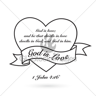325x325 God Is Love With Heart, Cross And Banner. Vector Design. Gl