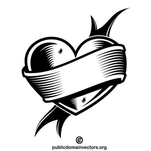 500x500 Heart And Banner Vector Clip Art Public Domain Vectors