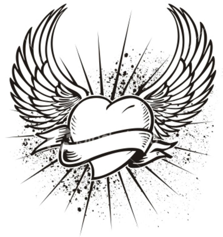736x783 Pencil Drawings Of Hearts With Wings And Banners Collection