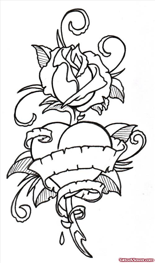500x847 Rose Flower And Banner Heart Tattoo Design Tattoo