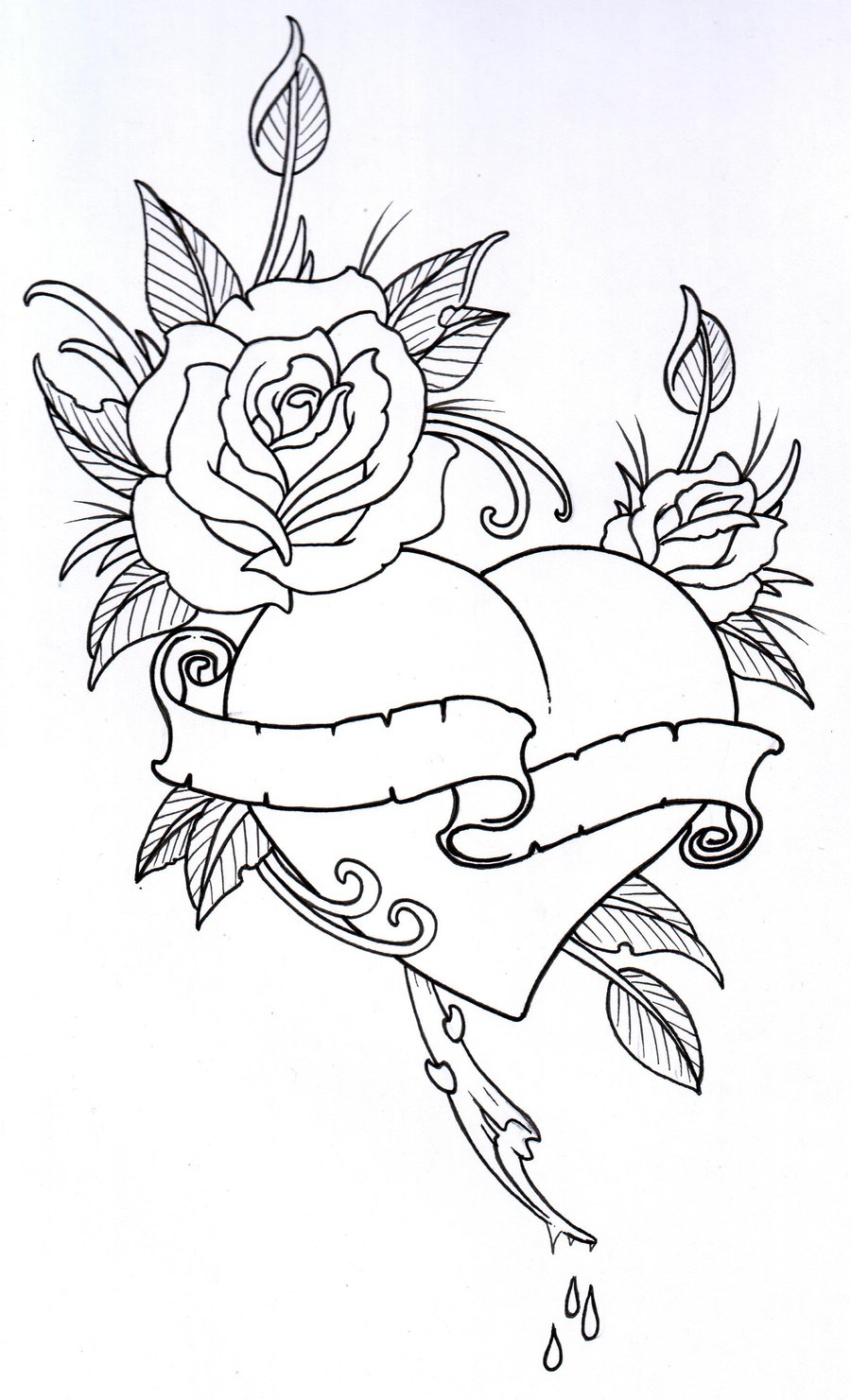900x1481 Roseheart Outline 1 By Vikingtattoo