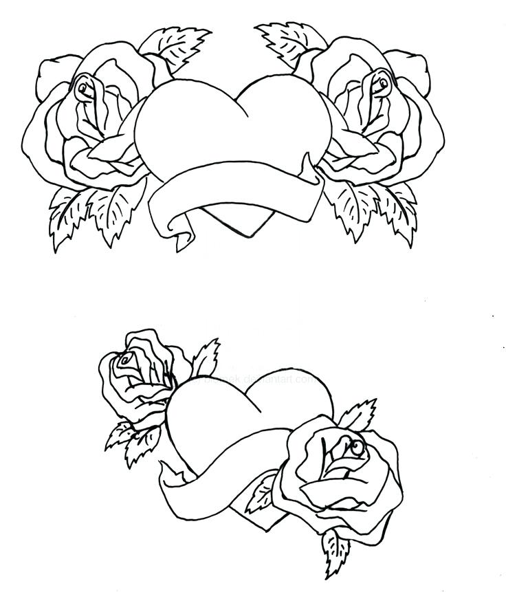 736x861 Coloring Pages Roses And Hearts Nzherald.co