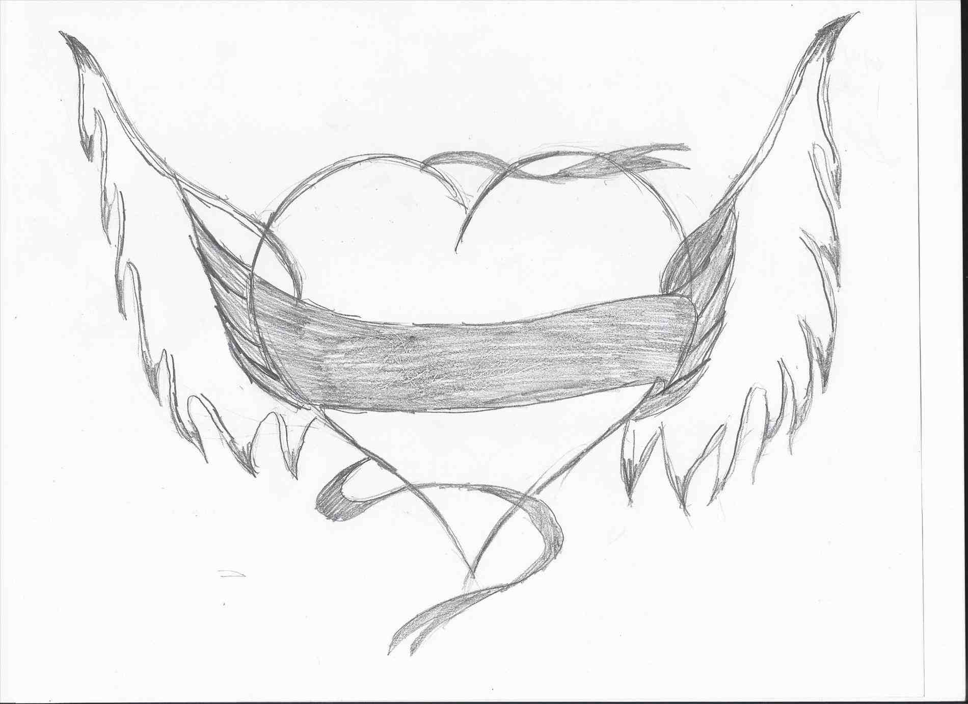 1900x1381 Heart Drawings With Banner And Wings Easy